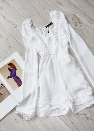 Шикарный белый ромпер комбинезон шортами рукава воланы 10 м