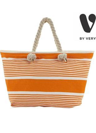 Оранжевая пляжная сумка v by very, оригинал, хлопок, натуральная, большая