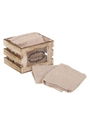 Набор махровых полотенец для ванны кухни в декоративной деревянной коробке прованс лофт