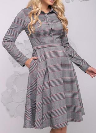 Расклешенное приталенное платье в клетку (s,m,l,xl,xxl,3xl,4xl)