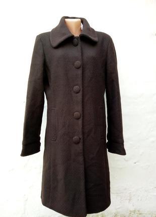 Красивое стильное твидовое шоколадное шерсяное фактурное пальто,английский стиль,кэжуал.