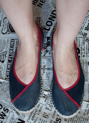 Модные синие джинсовые балетки мокасины эспадрильи на низком ходу