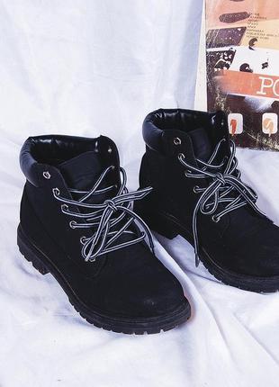 Черные ботинки демисезонные, ботинки на шнуровке под тимбы, демисезонные ботинки нубук
