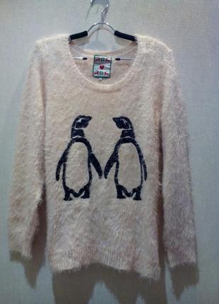 Мягкий пушистый свитер травка с пингвинами