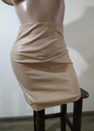 Юбка еко кожа юбочка под кожу размер хс 6 мягкая