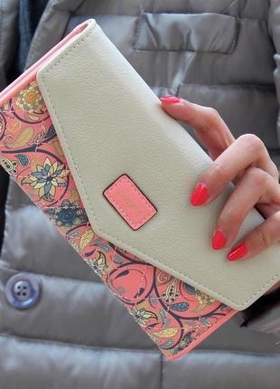 Женский кошелек, клатч розовый, бежевый, 🍑коралловый, персиковый,🍑 лососевый весна-лето