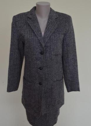 Шикарный брендовый шерстяной костюм классика,жакет удлиненный,размер 10.