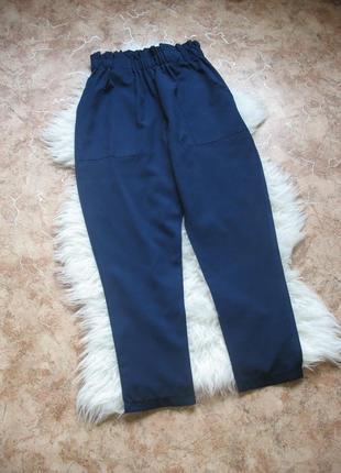 Синие брюки на резинке boohoo