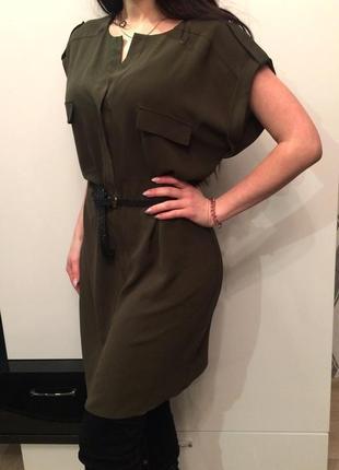 Стильне плаття-туніка кольору хакі f&f