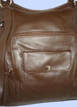 Стильная большая сумка натуральная кожа tula