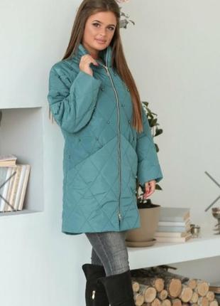 Удлиненная весенняя куртка оверсайз с бусинами, р. 42-44, 46-48, 50-52, 54-56 цвета