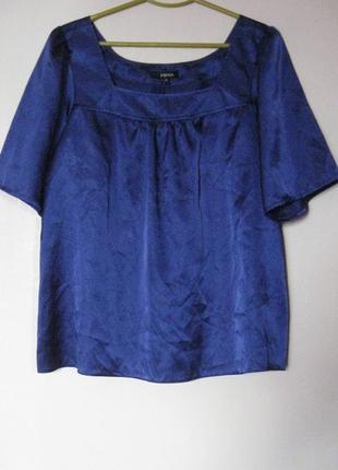 Блуза синяя атласная