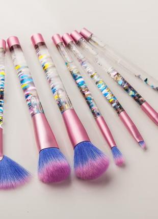 Блестящий набор кистей для макияжа в подарок brushegg