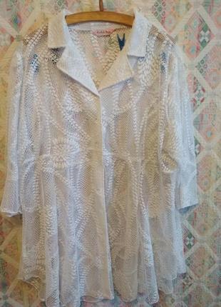 Блуза туника большой размер 26 28 гипюровая