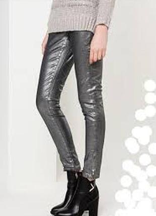 Скидка: идеальные серебристые / металлик джинсы скинни massimo dutti, s-m