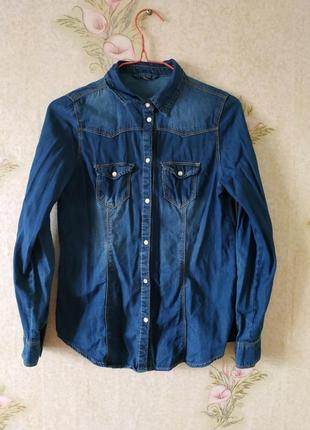Фирменная джинсовая рубашка на девочку 12-13 лет denim co