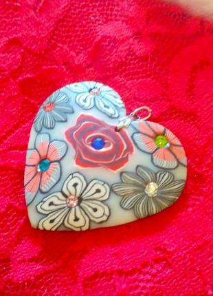 Кулон 💙 подвеска сердце fimo из полимерной глины богемная винтаж
