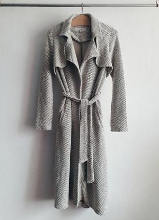Пальто вязаное тренч накидка куртка плащ с поясом river island