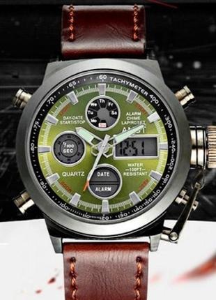 Командирские  наручные часы amst green