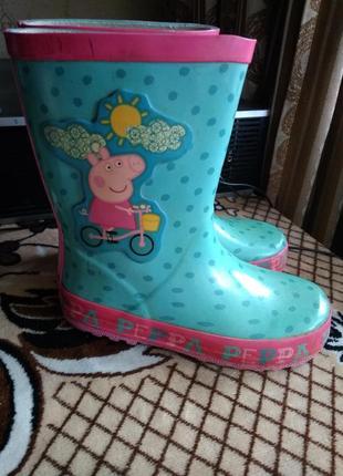Яркие бирюзовые резиновые сапоги для дождя для девочки размер 27,5