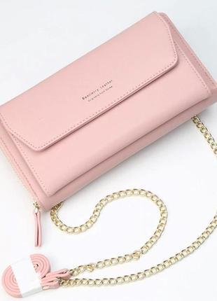 Женский клатч сумочка baellerry leather pink