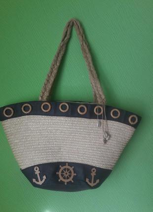 Мега модная пляжная соломенная сумка