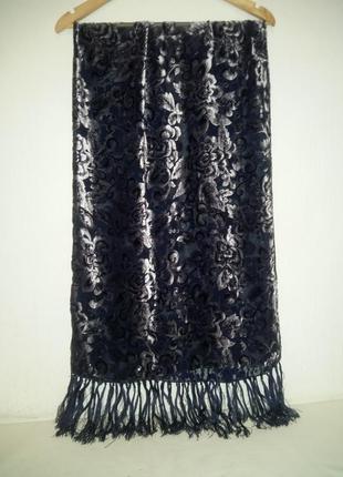 Шифоновый шарф, палантин с велюровыми цветами и шелковой бахромой