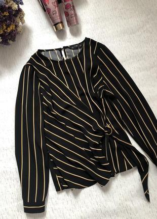 Трендовая стильная блуза на запах   в полоску 10- размер