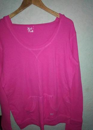 Вафельная ткань котон худи свитшот кофта свитер летний розовый с капюшоном карманом