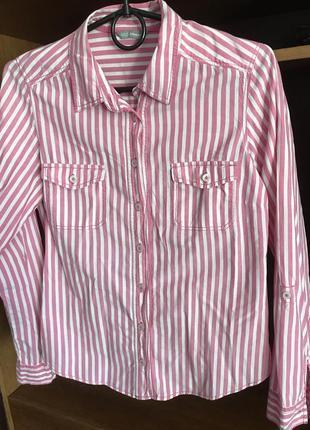 Женская рубашка marks&spencer в  розово-белую полоску