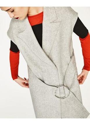 Zara стильная шерстяная жилетка- пальто - кардиган под пояс  s