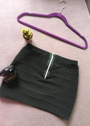 Бандажная мини юбка с замочком сзади new look
