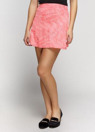 Крутая весенняя фактурная юбка bershka кораллового цвета
