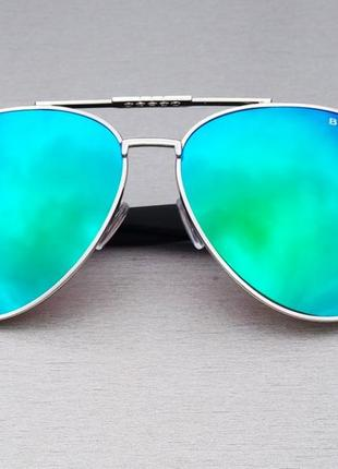 Очки капли унисекс солнцезащитные зеркальные голубые