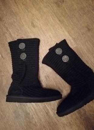 Вязаные чёрные сапожки ugg 30 разм 19,5 см стелька