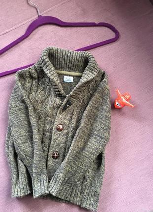 Теплый свитер, кардиган f&f  на пуговицах 3/5 годика