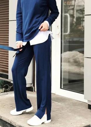 Шикарный весенний спортивный брючный костюм прогулочный брюки клеш синий