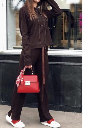 Шикарный весенний брючний костюм свитшот брюки клеш шоколадный