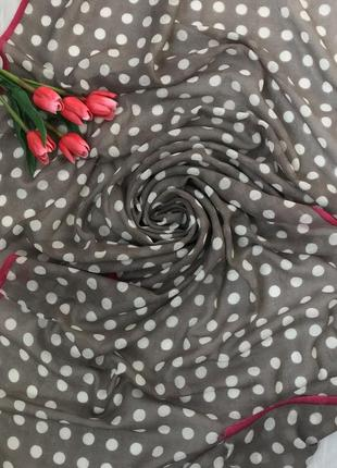 Красивый ♥️👑♥️ шерстяной шарф палантин пашмина в горох.