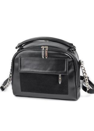 Черная маленькая сумочка через плечо кроссбоди с ручкой и замшевой вставкой