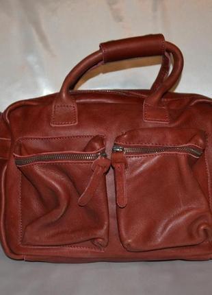 Бордовая мужская кожаная сумка cowboysbag, оригинал