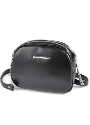 Черная маленькая сумочка через плечо овальная кроссбоди на молнии