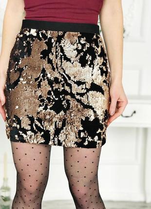 Мини юбка с бисером