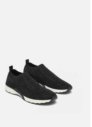 Кроссовки слипоны zara кеды чёрные носок с блёстками оригинал