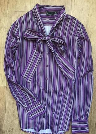 dc64c8489a4da34 Рубашка на завязках бант на пуговицах в полоску качественная классическая  xs 34