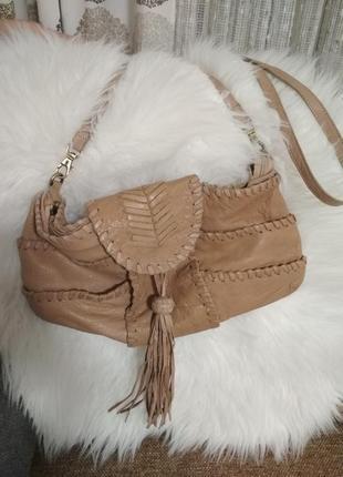 Кожаная сумка кроссбоди от zara