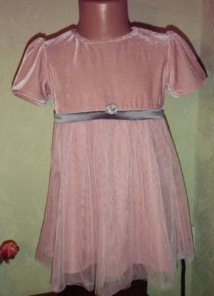 Бархатное платье + вязаные рукавчики и воротничек  италия 3-5 лет