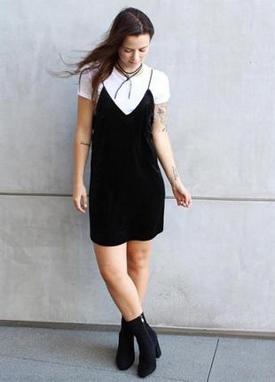 Черное платье майка бретелями на лямках в бельевом стиле комбинация батал большой размер