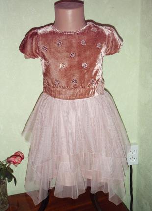 Бархатное платье для девочки 4-6 лет marks & spencer
