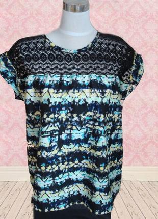 🌹🌹красивая блузка футболка жен в принт с кружевом большой размер benotti 🌹🌹🌹